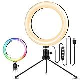 ELEGIANT Ringlicht Stativ, LED Ringleuchte mit 10 RGB Farbwechsel+10 Helligkeitsstufen,Tischringlicht für Fotografie Videoaufnehmen,Make-Up,Live Streaming, Portrait, Volg,YouTube Show