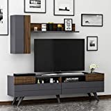 Moon Wohnwand – Wohnzimmer TV Set – TV Schrank – TV Lowboard – Fernsehtisch - TV Möbel mit 2 Türen in modernem Design ( Anthrazit / Nussbaum )
