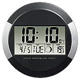 """Hama Digitale Wanduhr mit Temperaturanzeige, """"PP-245"""" (DCF Funkuhr mit Datum, Thermometer, Mondphasen, zum Aufstellen/Aufhängen, 24.5cm Durchmesser, rund) Digitaluhr, Baduhr silber/schw"""