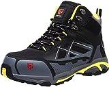 LARNMERN Sicherheitsschuhe Arbeitsschuhe Herren, Sicherheit Stahlkappe Stahlsohle Anti-Perforations Luftdurchlässige Schuhe, LM-1702 (44 EU Schwarz)