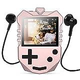 AGPTEK MP3 Player Kinder, 8GB Autodesign Video Player 1,8' TFT LCD Bildschirm mit Lautsprecher& Kopfhörer, Tragbarer Musikplayer unterstützt UKW-Radio, Schlaftimer, Sprachaufnahme und Spiele usw. Rosa