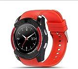 DHTOMC Smartwatch, Bluetooth, Touchscreen, Armbanduhr mit Kamera/SIM-Kartenschlitz, wasserdicht, tolles Geschenk (Farbe: Rot)
