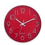 HZDHCLH Wanduhr, 30,5 cm, leise, nicht tickende Uhr für Wohnzimmer, Schlafzimmer, Küche, Büro Rot-Weiß