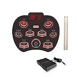 GJQDDP E-Drums Set mit, Tragbares elektronisches Roll-Up-Drum-Silikon-Übungs-Drum-Kit Eingebauter Lautsprecher 1200mAh für Anfänger Kinder-Schlaginstrument,A