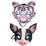 STOBOK Tiger Und Schwein Masken Half Face Cosplay Masken Kreative Tier Masken für Halloween Festival Maskerade Partei Cosplay, Pack von 2