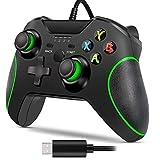 Kabelgebundener Xbox One-Gamecontroller, Dual Vibration Wired Gamepads-Gamecontroller, Plug & Play und integrierte 3,5-mm-Headset-Audiobuchse Geeignet für Xbox One, PC Windows 7/8/10 (Schwarz)