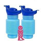 2 Pack Notfall Urinal 750ml Mini Urinflasche Urinflaschen für Männer Tragbar Faltbar Mobilurinal Wiederverwendbar Universal für Sie und Ihn Auto Reise und Outdoor-Camping