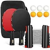 Tencoz Tischtennis Set, 2 Tischtennisschläger, 6 Tischtennis Bälle Tischtennisnetz und 1 Tragetasche, Ping Pang Set Ideal für Anfänger, Familien und Profis