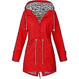 Damen Jacke Mantel Wasserdicht Regenjacke Outdoor Wandern Kleidung Leicht Gr. 36, rot