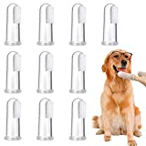 10 Stück Pet Finger Zahnbürste, weiche Silikon Pet Finger Zahnbürste, Lebensmittelsicherheit Zahnreiniger, Hund Katze Zahnbürsten Kit für Hunde & Katzen Pet Zahnpflege (transparente Farbe)