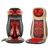Shiatsu Massageauflage -Massagesitzauflage mit 3 Massagezonen, Wärmefunktion, Rotlichtfunktion, Nackenmassage für Rückenmassage und Köpermassage zuhause im Büro und im Auto (Beige)