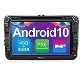 Vanku Android 10 Autoradio für VW Radio 64GB+4GB PX6 mit Eingebautes DAB + Navi CD DVD Player Unterstützt Qualcomm Bluetooth 5.0 DAB + WiFi 4G 8 Zoll IPS Bildschirm 2 D