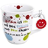 H:)PPY life 45357 Kaffeebecher mit Dekor Freude, Geschenktasse, Porzellan, 40 cl, Mehrfarbig