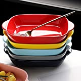 Kreative Binaural-keramischer Haushalts-Tiefscheibe, Western-Dinner-Platten-Suppenteller, Set von 5, hitzebeständiger Besteck five colors-#5