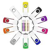 10 Stück 4GB USB Stick ,Fesaymi 2.0 USB-Flash-Laufwerk Mehrfarbig Speicherstick 360 ° Drehun Hi-Speed Memory Stick Mit Schlüsselband (4GB, 10PCS)
