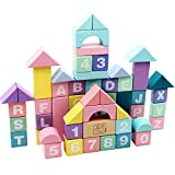Kinderbausteine, 61 Holzbausteine, Stapelbare Bausteinspielzeuge, Kinder Mit Aufbewahrungstaschen, Farbenfrohe Bildungsbausteine Für Kinder Und Kleinkinder, Kindertagsgeschenke