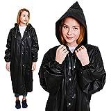 Regenponchos für Erwachsene, Einweg-Regenmantel für Frauen, wasserdicht mit Kapuze, Regenmäntel für Herren, wiederverwendbare Regenjacken von BP Trendz, schwarz