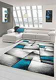 Designer Teppich Moderner Teppich Wohnzimmer Teppich Kurzflor Teppich mit Konturenschnitt Karo Muster Türkis Grau Weiß Schwarz Größe 80 x 300 cm