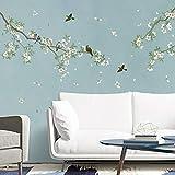 decalmile Wandtattoo Vögel auf Baum AST Wandsticker Blumen Weiß Wandaufkleber Wohnzimmer Schlafzimmer Sofa Hintergrund Wanddek