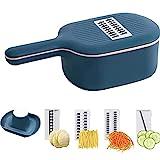 2021 Heißer Multifunktions-Gemüseschneider, tragbarer 4-in-1-Schneider, Reibe-Schredder mit Sieb, Abtropfkorb-Gemüseschneider für Obst- und Gemüsewerkzeuge in der Küche (Blau)