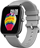 QHG Full Touch Color Screen Smart Watch Herzfrequenz Gesundheitswesen Aktivität Tracker Musiksteuerung Sport Fitness Tracker für Frauen Männer (Color : Gray)