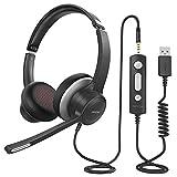 Mpow PC Headset mit Mikrofon HC6, 3,5mm PC Headset,USB Headset mit Noise-Cancelling-Mikrofon, Computer Headset für Skype, Webinar, Homeoffice, Gaming, e-Learning,Musik, Call Center, Ultra Komfort