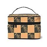 Make-up-Tasche Zweifarbige dunkle Schiefer tragbare Reise-Kosmetiktasche Organizer Multifunktionskoffer mit Doppel-Reißverschluss-Kulturb