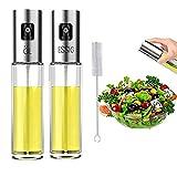 Nifogo Ölsprüher Oil Sprayer Öl Sprüher, Glas Flasche Essig Spender Küche Werkzeug Zerstäuber für Kochen, Salat, BBQ, Pasta, Grill, Gewürz (2x100ml +Bürsten)