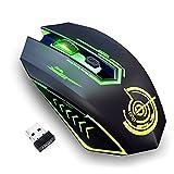 UHURU Kabellose Gaming Maus, Wireless Gamer Mouse mit 10000 DPI, 6 Programmierbare Tasten, 7 LED Leuchten, Gaming-Software & Ergonomisches Design für PC, Laptop, Gaming und Büro