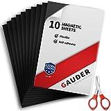 GAUDER Magnetfolie selbstklebend   Magnetische Folie schwarz   Für Fotos, Schilder & Postkarten (10 Stück)