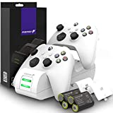 Fosmon DUAL 2 MAX Ladestation Kompatibel Mit Xbox Series X/S (2020), Xbox One/One X/One S Elite Controllers, Dual Docking Station + 2 x 2200mAh Wiederaufladbare Batterie Ladeschacht Station - Weiß