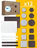 goodspot® Filzgleiter selbstklebend mit 3M Kleber - 150 Stück - rund, eckig, dunkelbraun, weiß - Möbelgleiter mit Klebefolie Stuhl Filzgleiter