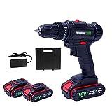 Akku-Knickschrauber 36 V 2.0Ah, Akkuschrauber Mit LED, Li-Ionen Batterie & Ladegerät, Akkubohrschrauber, Geschwindigkeitsreglung