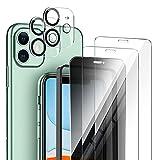 AROYI Privatsphäre Schutzfolie kompatibel mit iPhone 11 6.1'' Panzerglas, 2 9H Härte Glasfolie und 1 Anti-Spähen Privatsphäre Schützen Glas Folie und 3 Kamera Folie, Positionierhilfe, Blasenfrei