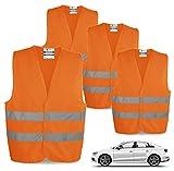 TK Gruppe Timo Klingler 4X Warnwesten EN471 Pannenweste 2021 Unfallweste Pkw Sicherheitsweste Weste orange reflektierend Auto, Pkw, LKW (4X Stück) (4X)