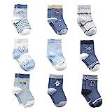 Cotton Coming Baumwolle Baby Jungen Socken,9 Paar Süß. Kleinkind Jungen BabySocken mit Griffen(6-12 Monate,EU16-18)
