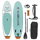 EASYmaxx - MAXXMEE Stand-Up Paddle-Board 'I Need Vitamin SEA'   Inkl. Tragetasche, Reparatur-Kit & Luftpumpe, mit praktischem Tragegriff   Premium Qualität