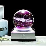 feiren Fantastischer Stil Sonnensystem-Globus, Kristallkugel mit 3D-Lasergravur, Astronomie-Ball, Heimdekoration, kosmisches Modell (Farbe: Kugel mit Kristall, Größe: 6 cm)