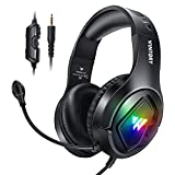 H HILABEE Stereo LED Licht Gaming Headset Noise Cancelling mit Mikrofon 3,5 Mm Stecker für Controller PC Laptop Tablet Computer Gamer