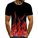 Mehrfarbiger Flammendruck 3D-Mode Trendige Jugend Kurzarm Herren T-Shirt StraßE T-Shirt, Modedruck, Kurzarm, Farbdruck Informelle Sommerkleidung