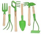 KOTARBAU® Gartenwerkzeug – Satz 6tlg. Mini Gärtnerwerkzeug – Mini Forke Grubber Rechen Spaten Hacken für Gartenpflege Gartengeräte