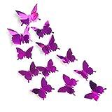 JUN-H 12 Stück 3D Schmetterlinge Deko Spiegelschmetterling Wandsticker Wandtattoo Deko Sticker Schmetterlinge Klebepunkten für Wohnung, Garten, Balkon,Raumdekoration (Lila)