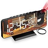 Wecker mit Projektion, AikoveJA Projektionswecker mit FM-Radio, 7' LED Spiegelbildschirm, 4 Helligkeiten, Dual Alarm mit USB Anschluss, Ultraklarer Raidowecker für das Home Office, Kinderzimmer