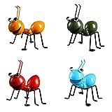 ZIFON Ameisen-Ornament aus Metall, bunt, Skulptur, niedliche Kunst, dekorativ für Innenbereich, Wohnzimmer, Bücherregal, Kinderzimmer, Veranda, Wandskulptur