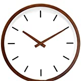Modern Mid Century Holz Analog Wanduhr (12') - Batteriebetrieben mit stummbetätigter Bewegung - kleine dekorative Holzuhren für Schlafzimmer, Badezimmer, Küche