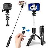 SYOSIN Selfie Stick mit Handy und Kamera Stativ (100cm) - 4 in 1 Selfiestick mit Bluetooth-Fernauslöse, 360°Rotation Selfie-Stange für GoPro Action-Kamera und iPhone Android Smartp