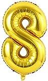 Soulstice © XXL Zahlenballon in Gold, Folienballons als Geschenk und Überraschung für Geburtstage, Jubiläum, Hochzeit und Party Deko, Partydeko, Zahl Acht 8