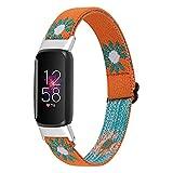 Chofit Armband kompatibel mit Fitbit Luxe Riemen, verstellbares Nylon-Segeltuch, gewebtes Blumenmuster, elastisches Ersatzarmband für Luxe Activity Tracker (orange)
