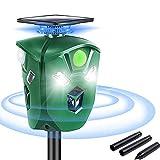 Ultraschallabwehr Katzenschreck, 360° Tiervertreiber mit Bewegungsmelder und Ultraschall Blinklichter, Wasserdicht Solar & USB Wiederaufladbare Katzenschreck Schreck für Garten Hund, Füchsen, Ratten