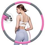 BIAOQINBO Fitness Sport Hoop Reifen Erwachsense, Fitnessreifen aus Edelstahl Schaumstoff, 8 Segmente Abnehmbar, Fitnessreifen 1.2 1.5 KG Gewicht einstellbar, zu Hause im Büro Gewichtsreduktion Massage